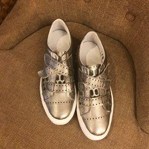 RACHEL Zoe Jaden leather silver Velcro sneakers  7